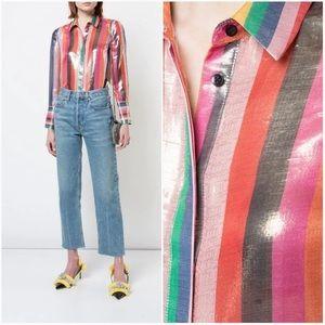 Alice + Olivia Rainbow Striped Blouse XS